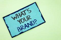 Begriffshandschriftvertretung, was Ihre Marken-Frage ist Geschäftsfototext definieren einzelnes eingetragenes Warenzeichen identi Stockfotos
