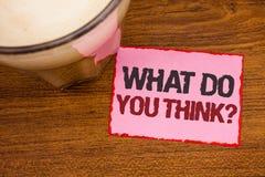 Begriffshandschriftvertretung, was Sie Frage denken Geschäftsfototext Meinungs-Gefühl-Kommentar-Urteil-Überzeugung flehen an stockfoto