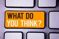 Begriffshandschriftvertretung, was Sie Frage denken Geschäftsfototext Meinungs-Gefühl-Kommentar-Urteil-Überzeugung Gra stockbild