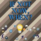 Begriffshandschriftvertretung wenn nicht jetzt Whenquestion Geschäftsfoto Präsentationsaktions-Fristen-Ziel-Initiative stock abbildung