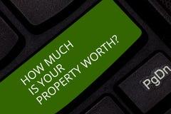Begriffshandschriftvertretung, wie viel Ihr Eigentum Worthquestion ist Die Geschäftsfotopräsentation stellen den Preis her lizenzfreie stockfotos