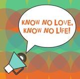 Begriffshandschriftvertretung wissen, dass keine Liebe kein Leben kennen Der reizenden ausgezeichnete Erfahrung Inspirations-Moti vektor abbildung