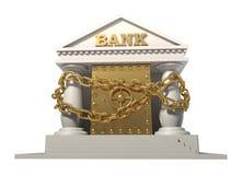 Das Safe in der Bank, angeschlossen durch eine Goldkette Stockfoto