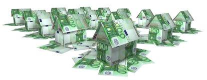 Die Regelung von den Häuschen setzte sich von den Anmerkungen für 100 Euros Stockfotos