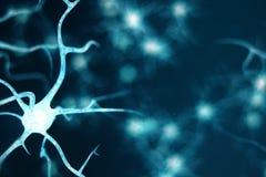 Begriffsillustration von Neuronzellen mit glühenden Linkknoten Neuronen im Gehirn an mit Fokuseffekt Synapse und lizenzfreie abbildung