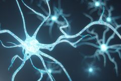 Begriffsillustration von Neuronzellen mit glühenden Linkknoten Synapsen- und Neuronzellen, die elektrische Chemikalie senden vektor abbildung