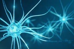 Begriffsillustration von Neuronzellen mit glühenden Linkknoten Synapsen- und Neuronzellen, die elektrische Chemikalie senden lizenzfreie abbildung