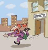 Begriffskarikatur über Akupunktur Stockbild