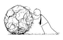 Begriffskarikatur des Geschäftsmannes Rolling Large Rock Stockbilder