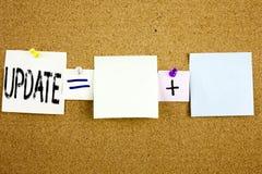Begriffsmitteilungstext-Titelinspiration, die Aktualisierungs-Geschäftskonzept für die Bildungs-Textwissensstudie geschrieben auf Stockbild
