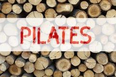 Begriffsmitteilungstext-Titelinspiration, die Pilates-Geschäftskonzept für die Eignungs-Balancen-Trainings-Übung an geschrieben z Lizenzfreie Stockfotografie