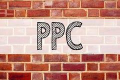 Begriffsmitteilungstext-Titelinspiration, die PPC - Pay per Click zeigt Geschäftskonzept für Internet SEO Money geschrieben auf O Lizenzfreie Stockfotos