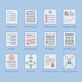 Begriffsnetz- und Papierdokumentenplanikonen eingestellt Stockfotografie