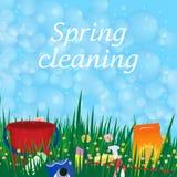 Begriffsplakat für das Säubern Seifenblaserahmen Frühling servi Lizenzfreie Stockfotos