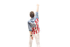 Begriffsporträt eines patriotischen Mannes Stockfotografie