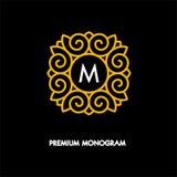 Begriffsschablonenvektor Quadrat-Logodesign und Monogrammkonzept Stockfotos