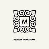 Begriffsschablonenvektor Quadrat-Logodesign und Monogrammkonzept Lizenzfreie Stockfotos