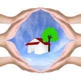 Begriffssymbol von acht menschlichen Händen Stockbild