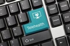 Begriffstastatur - blauer Schlüssel Telehealth stockfoto