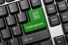 Begriffstastatur - grüner Schlüssel der Veröffentlichungen stockfotografie
