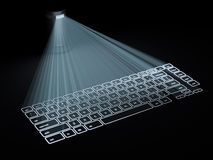 Begriffstastatur projektierte auf die Oberfläche, die auf Schwarzem lokalisiert wurde Stockfoto