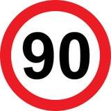 begränsningsvägmärke för 90 hastighet Arkivbild