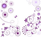 Begroetende bloemen violette kaart vector illustratie
