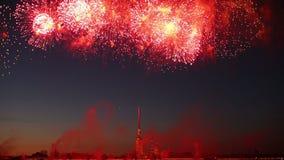 Begroeting, Vuurwerk in de Nachthemel stock footage