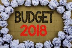 Begroting 2018 Bedrijfsconcept voor Huishouden die boekhouding planning geschreven op uitstekende achtergrond met exemplaarruimte Royalty-vrije Stock Afbeeldingen