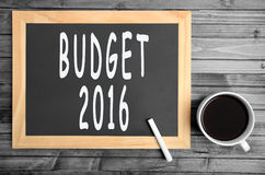 Begroting 2016 woorden Stock Fotografie