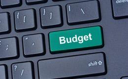 Begrotingswoord op toetsenbordknoop Stock Afbeelding