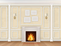 Begue wall with pilasters fireplace and sconces. Classic interior wall with fireplace, sconces and pilasters. Vector realistic illustration. Interior background Royalty Free Stock Photo