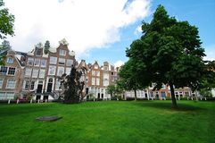 Beguinage. Houses beguines in the middle of amsterdam Stock Photos