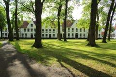 Beguinage klosterborggård Bruges Belgien Fotografering för Bildbyråer
