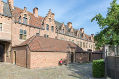 Beguinage with old historic houses downtown in Antwerp, Belgium Stock Photography