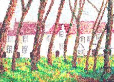 Beguine convent, pointillism. Royalty Free Stock Image