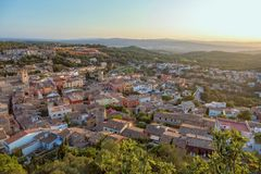 Begur with Castle, a typical Spanish town in Catalonia, Spain.  Royalty Free Stock Image