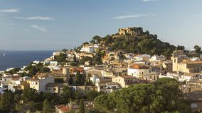 Begur with Castle, a typical Spanish town in Catalonia, Spain.  Stock Image