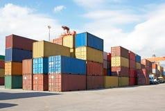 Behälter AR am Hafen, Fracht Transportatio Stockfotografie
