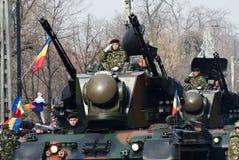 Behälter auf einer Militärparade Stockbilder