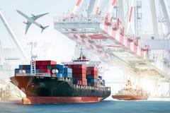 Behälter-Frachtschiff und Transportflugzeug mit Arbeitskranbrücke im Werfthintergrund lizenzfreie stockfotografie