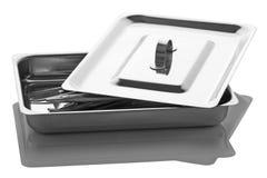 Behälter mit den chirurgischen Instrumenten lokalisiert auf einem weißen Hintergrund Lizenzfreies Stockfoto
