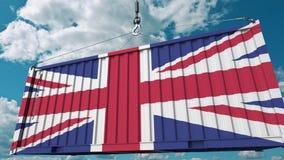 Behälter mit Flagge des Vereinigten Königreichs Briten importieren oder exportieren in Verbindung stehende Begriffs-Animation 3D stock footage