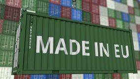 Behälter mit GEMACHT IN EU-Titel In Verbindung stehende Wiedergabe 3D des Importes oder des Exports der Europäischen Gemeinschaft vektor abbildung