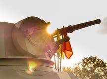 Behälter mit Kanone in der Militärparade der königlichen thailändischen Marine, Sattahip-Marinebasis, Chonburi, Thailand Lizenzfreies Stockfoto