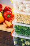Behälter mit rohem Gemüse für das Einfrieren lizenzfreies stockfoto