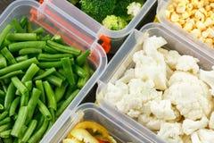 Behälter mit rohem Gemüse für das Einfrieren stockbilder