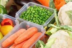 Behälter mit rohem Gemüse für das Einfrieren lizenzfreie stockbilder