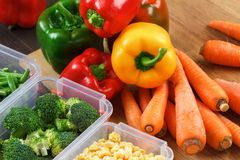 Behälter mit rohem Gemüse für das Einfrieren stockfotografie