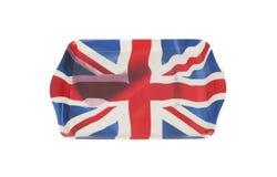Behälter mit Staatsflagge von Großbritannien Stockfotos